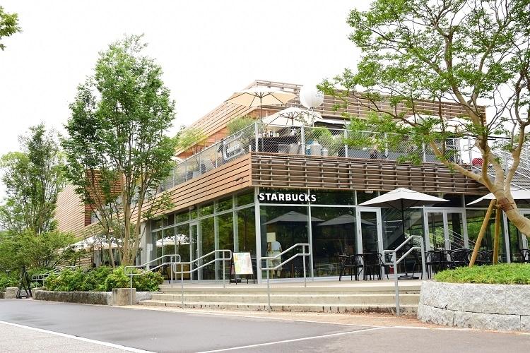 スポーツに関するサービスと有名カフェが入った複合商業施設