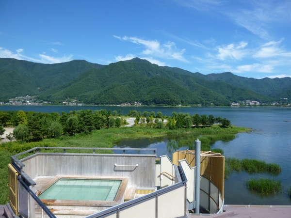 河口湖温泉「レイクランドホテル みづのさと」の魅力①大パノラマの展望露天風呂