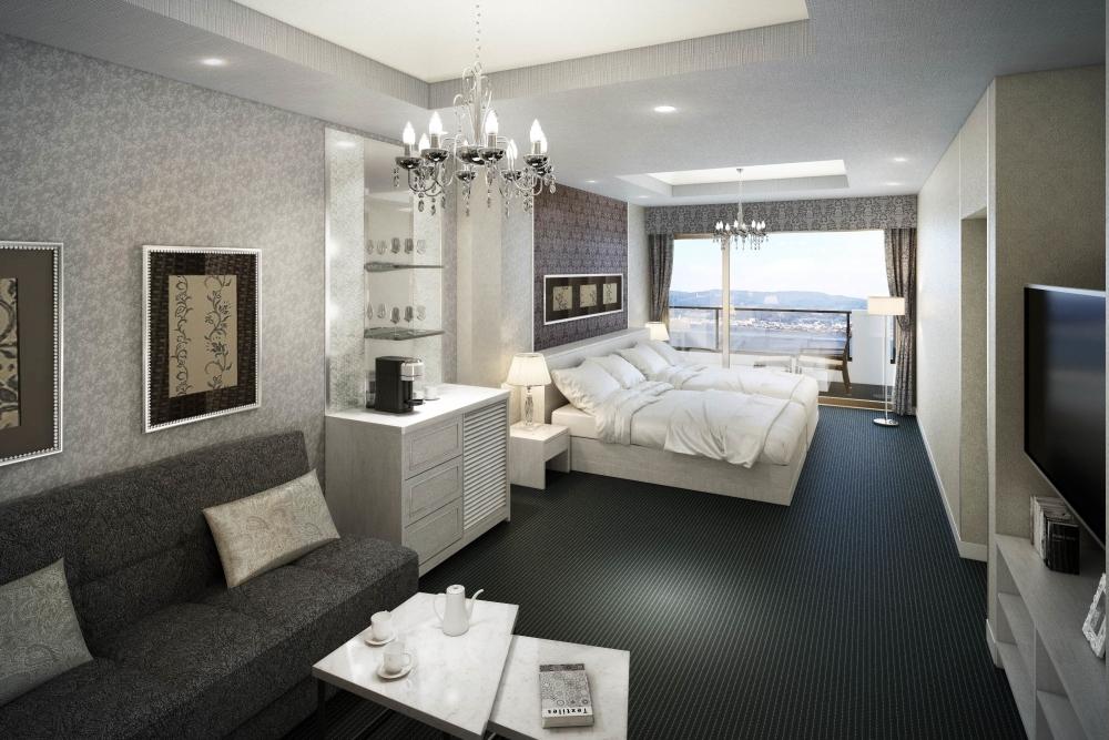 それぞれデザインの違う客室が素敵。温泉が楽しめるのもポイント