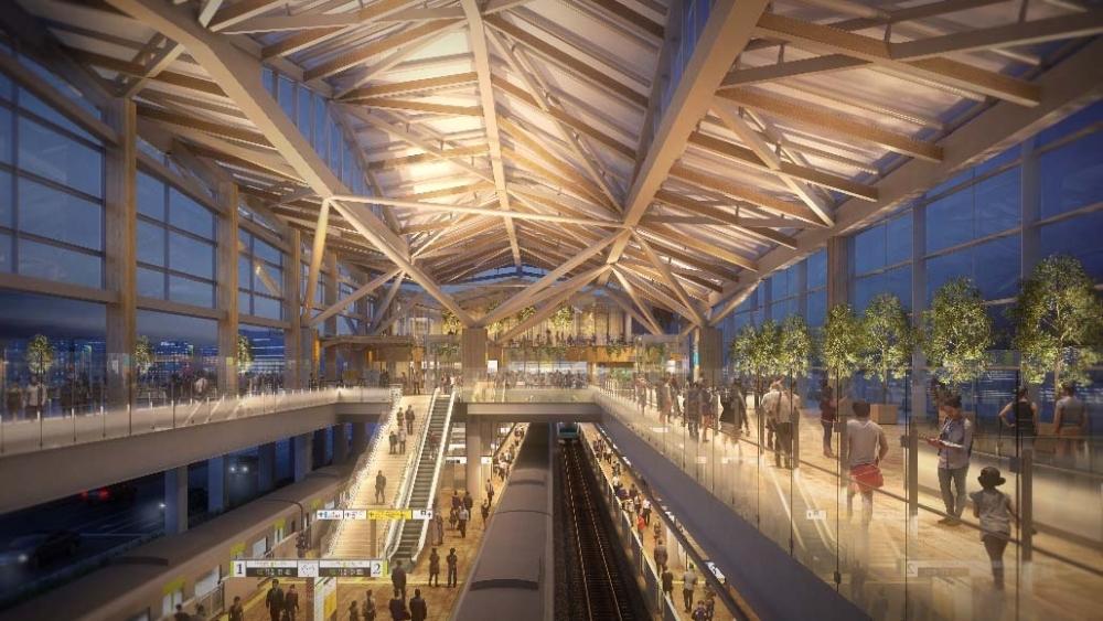 折り紙モチーフの駅舎デザインは隈研吾氏。