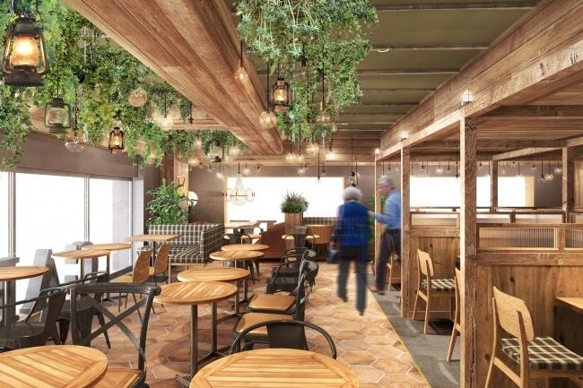 山小屋がコンセプトのカフェ「カフェティンバーハウス エキュート大宮店」