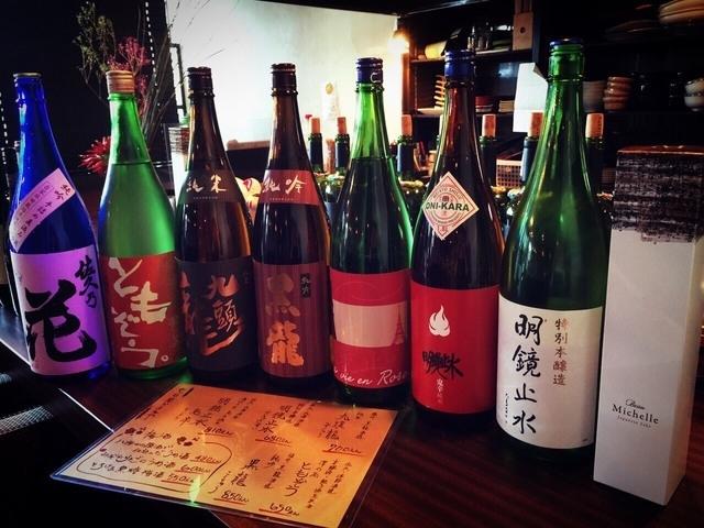 選りすぐりの日本酒は常時20種類ほど