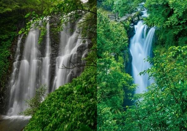 滝のマイナスイオンと森林のフィトンチッド、癒しのシャワーを存分に。