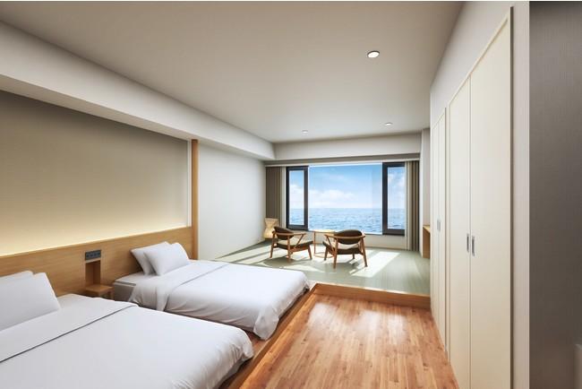 瀬戸内海を一望するオーシャンビューの客室。江田島らしさを感じる内装にも注目