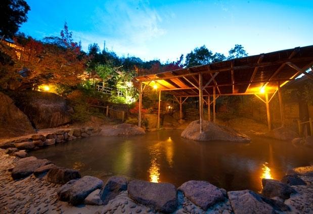 「八面山金色温泉 こがね山荘」の魅力②9種類の露天風呂