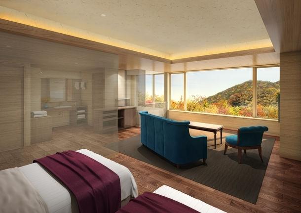 展望風呂付きの贅沢な客室も