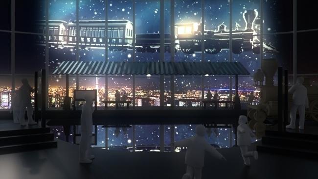 """地上52階の""""天空駅""""では夜になると夜景と列車がコラボする"""